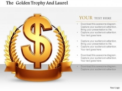 Stock Photo Dollar Laurel Award For Winner Pwerpoint Slide