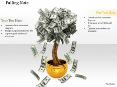 Stock Photo Dollar Notes Falling From A Tree PowerPoint Slide