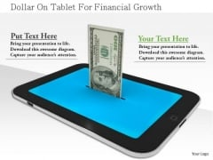 Stock Photo Dollar On Tablet For Financial Growth PowerPoint Slide