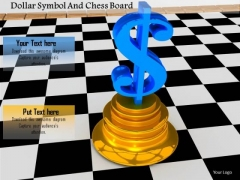 Stock Photo Dollar Symbol And Chess Board PowerPoint Slide
