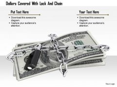 Stock Photo Dollars Covered With Lock And Chain PowerPoint Slide