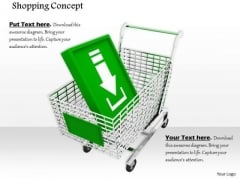 Stock Photo Download Arrow Icon In Shopping Cart PowerPoint Slide
