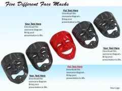 Stock Photo Five Different Face Masks PowerPoint Template