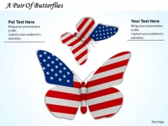 Stock Photo Flag Of America With Butterfly Shape PowerPoint Slide