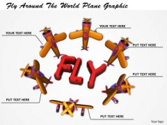 Stock Photo Fly Around The World Plane Graphic PowerPoint Template