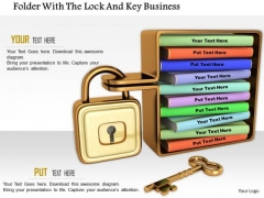Stock Photo Folder With The Lock And Key Business PowerPoint Slide