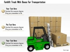 Stock Photo Forklift Truck With Boxes For Transportation PowerPoint Slide
