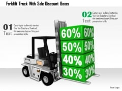 Stock Photo Forklift Truck With Sale Discount Boxes PowerPoint Slide