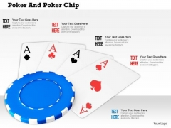 Stock Photo Four Aces On Blue Poker Chip PowerPoint Slide