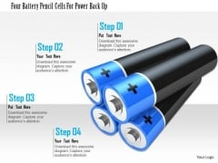 Stock Photo Four Battery Pencil Cells For Pwer Back Up PowerPoint Slide