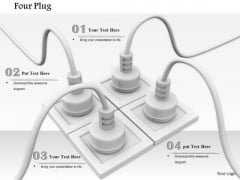 Stock Photo Four Electricity Plugs In Socket Teamwork Concept PowerPoint Slide