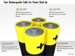 Stock Photo Four Rechargable Cells For Power Back Up PowerPoint Slide