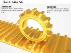 Stock Photo Gear On Golden Path PowerPoint Slide