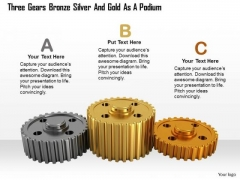 Stock Photo Gears Bronze Silver And Gold As Podium Pwerpoint Slide