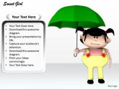 Stock Photo Girl Holding Green Umbrella Pwerpoint Slide