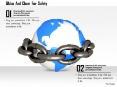Stock Photo Globe And Chain For Safety Image Graphics For PowerPoint Slide