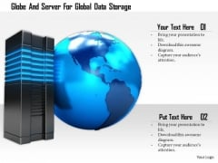 Stock Photo Globe And Server For Global Data Storage PowerPoint Slide