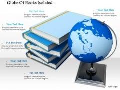 Stock Photo Globe Atlas World Stacked Books Global Education PowerPoint Slide