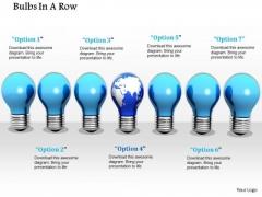 Stock Photo Globe Bulb In Center Of Blue Bulbs PowerPoint Slide