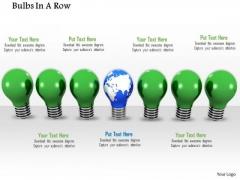 Stock Photo Globe Bulb In Center Of Green Bulbs PowerPoint Slide
