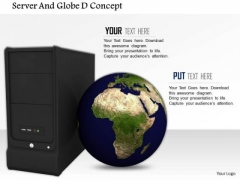 Stock Photo Globe With Computer Server PowerPoint Slide