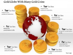 Stock Photo Globe With Red Textured Map Gold Coins PowerPoint Slide