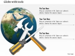 Stock Photo Globe With Wrench Screwdriver And Hammer PowerPoint Slide