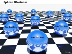 Stock Photo Glossy Blue Spheres On Chess Board PowerPoint Slide