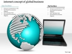 Stock Photo Glossy Green Textured Globe And Laptops PowerPoint Slide