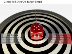 Stock Photo Glossy Red Dice On Target Board PowerPoint Slide