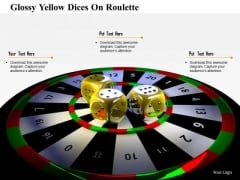 Stock Photo Glossy Yellow Dices On Roulette PowerPoint Slide