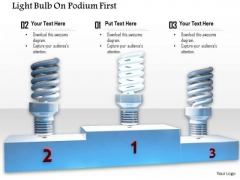 Stock Photo Glowing Light Bulb On First Postion PowerPoint Slide