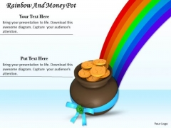 Stock Photo Gold Coins In Pot With Rainbow PowerPoint Slide