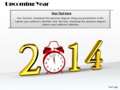Stock Photo Golden 2014 Graphic With Red Clock PowerPoint Slide