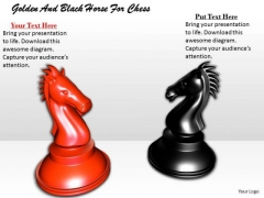 Stock Photo Golden And Black Horse For Chess PowerPoint Template