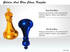 Stock Photo Golden And Blue Chess Knights PowerPoint Template