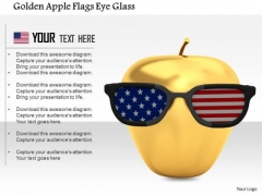 Stock Photo Golden Apple Flags Eye Glass PowerPoint Slide