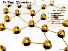Stock Photo Golden Balls Connected In Network PowerPoint Slide