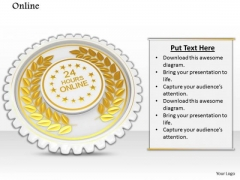 Stock Photo Golden Batch With 24 Hours Online Text PowerPoint Slide