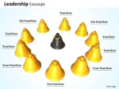 Stock Photo Golden Bells In Circle With Black Bell In Middle Shows Teamwork PowerPoint Slide
