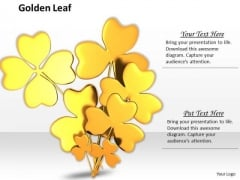 Stock Photo Golden Clover Leaves On White Background PowerPoint Slide