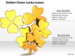 Stock Photo Golden Clover Lucky Leaves PowerPoint Template