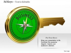 Stock Photo Golden Key Compass With Business Word PowerPoint Slide