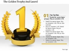 Stock Photo Golden Laurel Trophy For Winner Pwerpoint Slide
