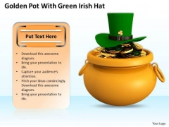 Stock Photo Golden Pot With Green Irish Hat PowerPoint Template