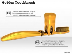 Stock Photo Golden Tooth With Toothbrush PowerPoint Slide