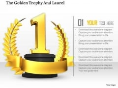 Stock Photo Golden Trophy Award For 1st Rank Pwerpoint Slide