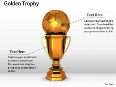 Stock Photo Golden Trophy For Soccer Game PowerPoint Slide