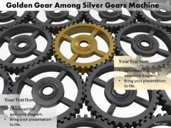 Stock Photo Golden Unique Gear In Silver Gears PowerPoint Slide