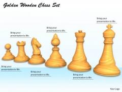Stock Photo Golden Wooden Chess Set PowerPoint Template